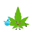 cute funny smiling happy marijuana weed leaf vector image vector image