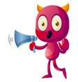 devil with megaphone on white background vector image vector image