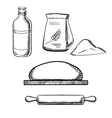 dough with rolling pin flour and milk vector image vector image