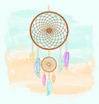 dreamcatcher feathers and beads watercolor native vector image