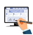 electronic signature finance digital vector image