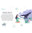 excited girl in virtual reality 3d nature feeling vector image
