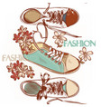 fashion seamless pattern hand drawn sport boots vector image vector image