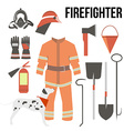 Fire-fighter elements set collection firefighter vector image vector image