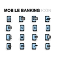 flat mobile banking icons set vector image
