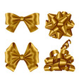 gold ribbons and bows top view and side view set vector image vector image
