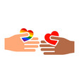 hands gesture with heart and flag of pride lgbt vector image