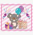 happy birthday animals party vector image
