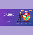 happy man near spin wheel fortune vector image vector image