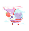 hippo baflying on cute helicopter funny vector image vector image