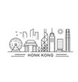 hong kong minimal style city outline skyline with vector image