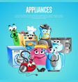 house appliances banner in cartoon style vector image