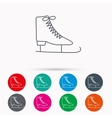 Ice skates icon Figure skating equipment sign vector image vector image
