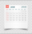 june 2018 calendar calendar sticker design vector image vector image