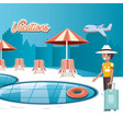 man in the pool scene travel ilustration vector image vector image