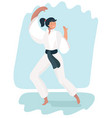 martial arts woman in kimono excercising karate vector image