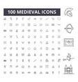 medieval line icons signs set outline vector image vector image