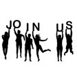 men and women silhouettes holding words join us vector image vector image
