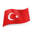 national flag of turkey white crescent moon with vector image vector image