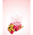 open gift present box with fly hearts vector image vector image
