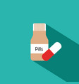 pill bottle with various pills and capsules vector image vector image
