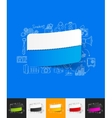 rectangle paper sticker with hand drawn elements vector image