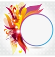 Round Frame with Abstract Flowers and Blots vector image vector image