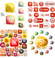 RSS glossy buttons vector image vector image