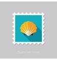 Seashell flat stamp Summer Vacation vector image vector image