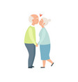 senior man and woman kissing and holding hands vector image