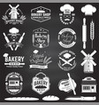 set bakery shop badge on chalkboard vector image