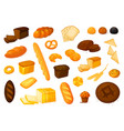 set bread icons bakery products vector image