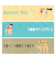 set flat horizontal motivate body positive banner vector image vector image
