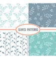 set of four seamless patterns with spring leaf vector image