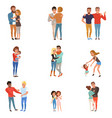 set with hugging people friends girlfriends vector image vector image