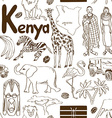 Sketch Kenya seamless pattern vector image