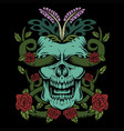 skull rose decoration vector image