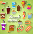 Snack Menu Flat design modern of food drink coffee vector image