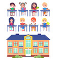students elementary school at desks vector image