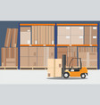 the forklift in the big warehouse delivery vector image vector image