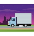 truck cargo service transport night city vector image