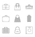 various types of bags icon set outline style vector image vector image