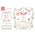 vintage wedding floral doodle decoricons set vector image vector image