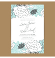 wedding invitation card with blue white flowers vector image vector image
