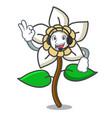 with headphone jasmine flower mascot cartoon vector image