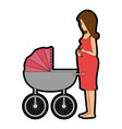 woman pregnant with cart baby vector image