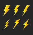 thunder and bolt lighting flash icons set flat vector image