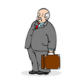 Old man with a suitcase Business elderly man weari vector image