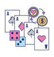 aces card dices coin chip casino game vector image