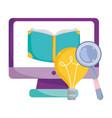 back to school computer ebook magnifier idea vector image vector image